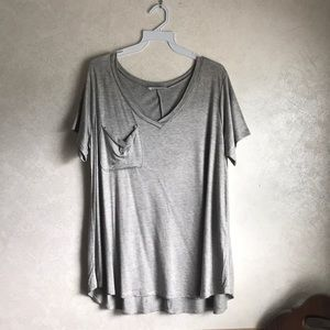 Long grey v neck T-shirt with pocket NWOT